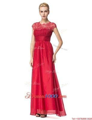 Fashion Scoop Coral Red Sleeveless Organza Zipper Dress for Prom for Prom and Party