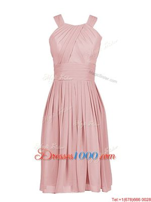 Exquisite Scoop Sleeveless Chiffon Knee Length Zipper Prom Homecoming Dress in Pink for with Pleated