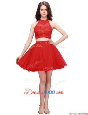 Flare High-neck Sleeveless Zipper Prom Dresses Coral Red Organza