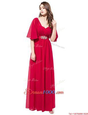 Floor Length Empire Half Sleeves Coral Red Evening Dress Zipper