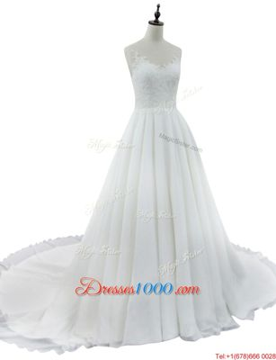 High Quality Sleeveless Court Train Zipper With Train Lace Wedding Gown