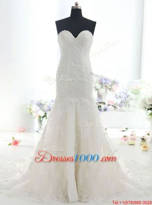 Latest Mermaid White Wedding Gown Wedding Party and For with Lace Sweetheart Sleeveless Brush Train Backless