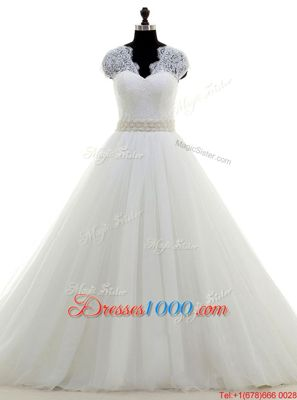 Glittering Tulle V-neck Cap Sleeves Brush Train Clasp Handle Beading and Lace Bridal Gown in White