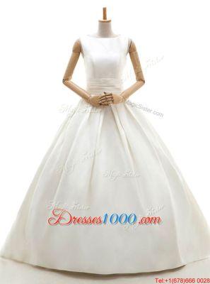 Suitable Floor Length White Bridal Gown Satin Sleeveless Ruching