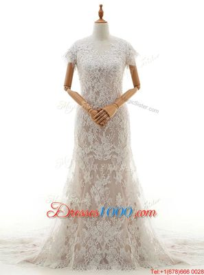 Modest Mermaid Lace Cap Sleeves With Train Wedding Gown Chapel Train and Lace and Appliques