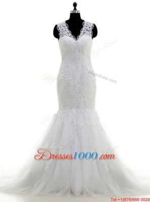 New Style Mermaid V-neck Sleeveless Wedding Dress With Brush Train Beading and Lace and Appliques White Tulle