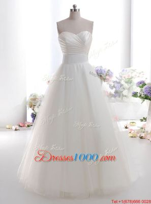 Hot Selling Tulle Sleeveless Floor Length Wedding Dresses and Ruching