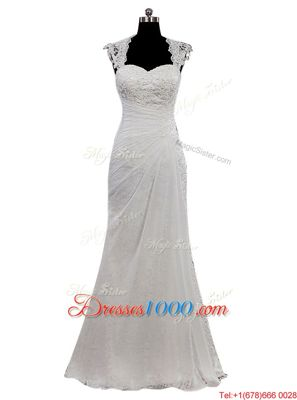 Trendy White Cap Sleeves Floor Length Lace Side Zipper Bridal Gown