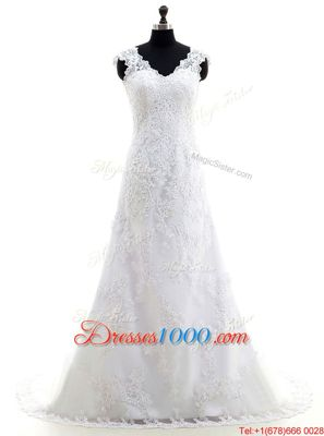 White Lace Zipper V-neck Long Sleeves With Train Wedding Dresses Brush Train Lace