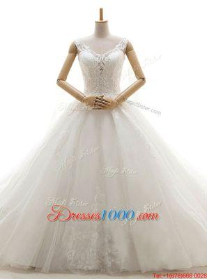 White V-neck Lace Up Lace Wedding Dress Chapel Train Sleeveless