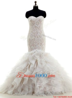 Deluxe Mermaid White Tulle Lace Up Wedding Dresses Sleeveless With Brush Train Lace and Ruffles
