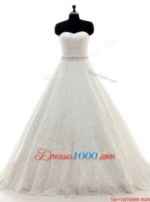 Beautiful White Lace Lace Up Sweetheart Sleeveless With Train Wedding Dress Brush Train Beading and Lace
