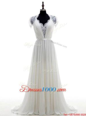 Sleeveless Brush Train Beading and Lace Clasp Handle Bridal Gown