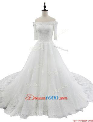 Off the Shoulder Lace Half Sleeves With Train Bridal Gown Chapel Train and Lace