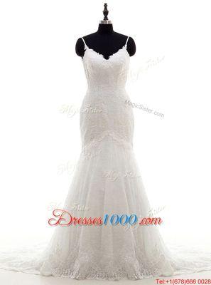 Mermaid White Backless Wedding Dresses Lace Sleeveless With Brush Train