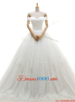 Low Price White A-line Tulle Off The Shoulder Sleeveless Ruching With Train Lace Up Wedding Dresses Chapel Train