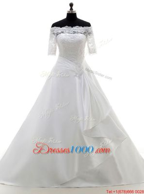 Captivating White Satin Clasp Handle Off The Shoulder Half Sleeves With Train Wedding Gowns Brush Train Lace