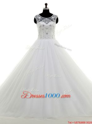 Scoop With Train Clasp Handle Wedding Dress White and In for Wedding Party with Beading Brush Train
