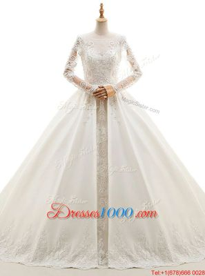 Scoop Long Sleeves Wedding Gown With Train Cathedral Train Appliques White Satin