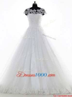 Great Scoop White Clasp Handle Wedding Dress Lace and Appliques Short Sleeves With Brush Train