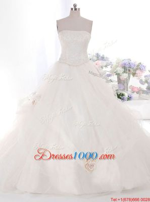 Inexpensive White Zipper Strapless Hand Made Flower Wedding Gown Tulle Sleeveless Brush Train