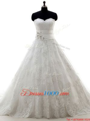 Lovely Scoop White Sleeveless Tulle Brush Train Zipper Wedding Dresses for Wedding Party
