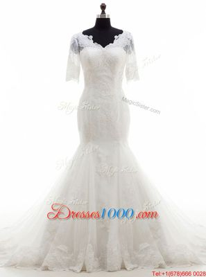 Mermaid Half Sleeves Tulle With Train Court Train Clasp Handle Wedding Gowns in White for with Lace and Appliques
