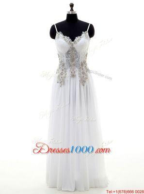 Decent Floor Length Empire Sleeveless White Wedding Gowns Backless