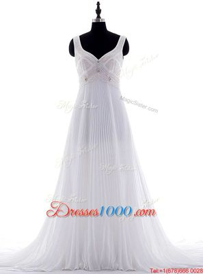 Beading and Pleated Wedding Gown White Zipper Sleeveless With Brush Train