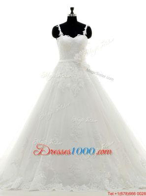 Lace White High-neck Zipper Appliques Wedding Gown Brush Train Long Sleeves