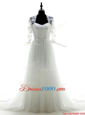 Fashion White Wedding Gowns Wedding Party and For with Appliques Sweetheart 3|4 Length Sleeve Brush Train Zipper