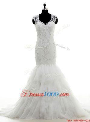 Amazing Mermaid V-neck Sleeveless Tulle Wedding Gown Beading and Lace and Ruffles Brush Train Clasp Handle
