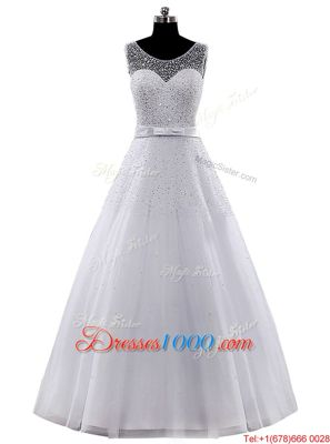 Scoop Sleeveless Tulle Wedding Dress Beading and Belt Clasp Handle