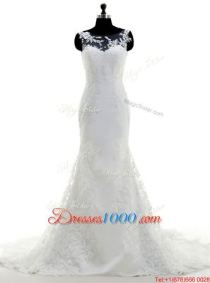 Fantastic Mermaid Scoop White Lace Clasp Handle Wedding Dress Sleeveless With Brush Train Lace and Appliques