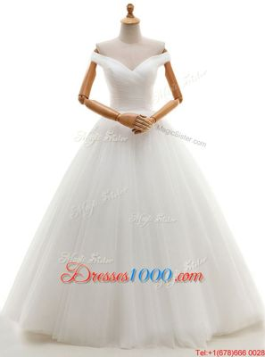 White Sweetheart Neckline Lace and Appliques Wedding Dress Sleeveless Lace Up