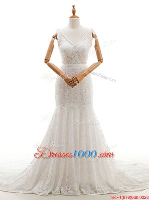 Simple Mermaid With Train Backless Bridal Gown White and In for Wedding Party with Lace Chapel Train