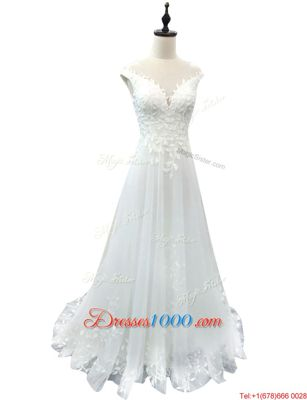 White Sleeveless With Train Beading and Ruffles Lace Up Wedding Gown