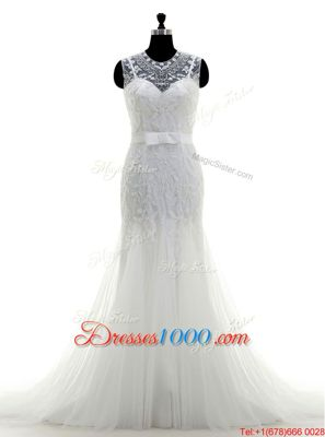 White A-line Lace and Appliques Wedding Dress Clasp Handle Tulle Sleeveless With Train