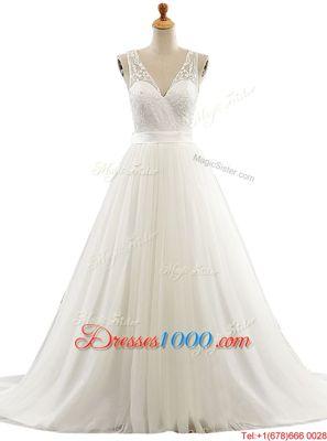 Shining V-neck Sleeveless Tulle Wedding Gowns Lace Brush Train Clasp Handle