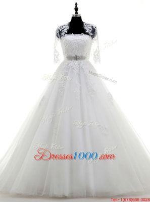 Strapless Sleeveless Tulle Wedding Dress Beading and Lace and Appliques Brush Train Lace Up