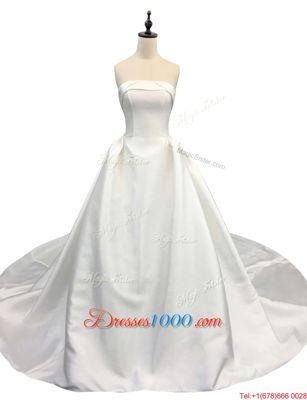 Strapless Sleeveless Satin Wedding Dress Ruching Chapel Train Zipper