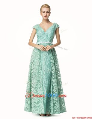 Lace Cap Sleeves Pleated Zipper Prom Dress with Turquoise