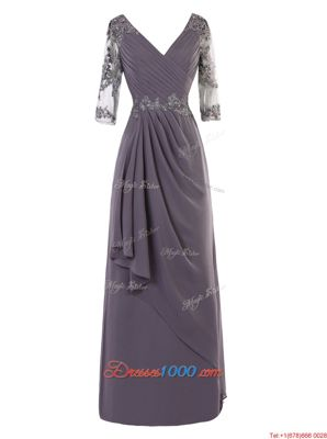 Grey A-line Chiffon V-neck Long Sleeves Beading and Appliques and Ruching Floor Length Zipper Prom Dresses