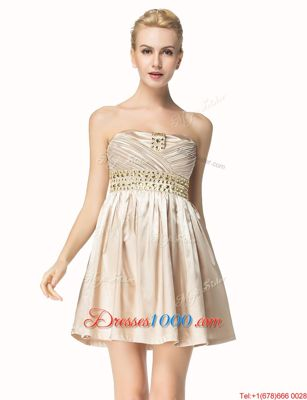 Strapless Sleeveless Satin Prom Gown Beading and Pleated Side Zipper