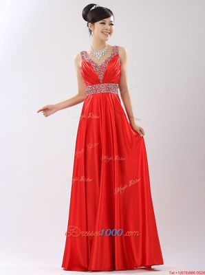 Fashionable Satin V-neck Sleeveless Zipper Beading Prom Gown in Coral Red