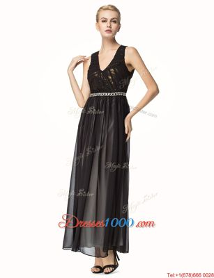 Amazing Black A-line V-neck Sleeveless Chiffon Ankle Length Backless Beading and Pleated Homecoming Dress