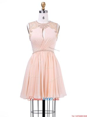 Attractive Peach Zipper Scoop Beading and Pleated Dress for Prom Chiffon Sleeveless