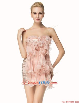 Colorful Pink Prom Evening Gown Party and For with Beading and Pleated Scoop Sleeveless Side Zipper