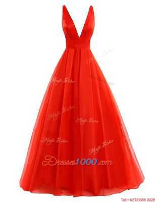 Coral Red Sleeveless Brush Train Pleated Evening Dress