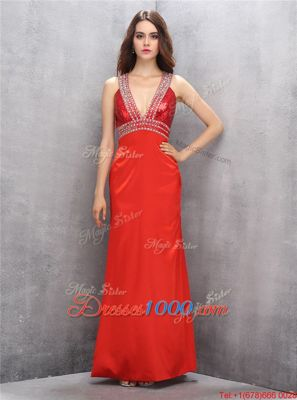 Edgy Criss Cross V-neck Sleeveless Homecoming Dress Online Floor Length Beading Coral Red Satin